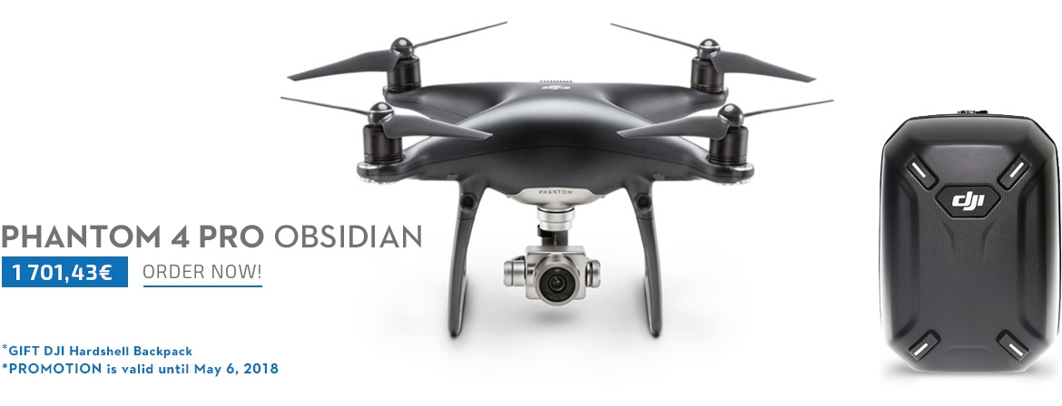 Order now DJI Phantom 4 Pro Obsidian Camera Drone with a Gift DJI Hardshell BackPack from COPTER.BG