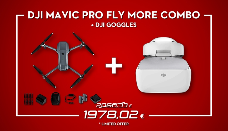 Our newest bundle DJI Mavic Pro Fly More Combo + DJI Goggles comes with an impressive and tempting price. Order now at COPTER.BG!